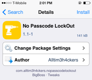 No Passcode LockOut