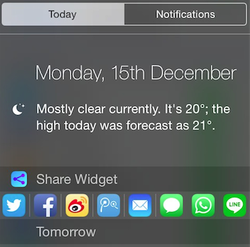 Share Widget for iOS 8